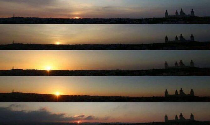 Как меняется закат с января по декабрь на фотографии сверху.