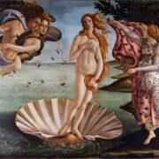 цена была особенно популярна в древнем искусстве, где божества порхают вокруг богини, когда она возлежит в раковине