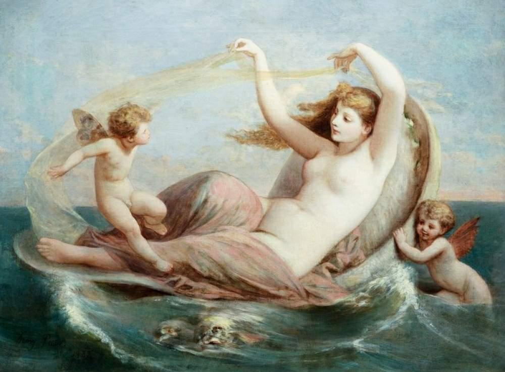 Образ Эроса и Афродита Сцена была особенно популярна в древнем искусстве, где божества порхают вокруг богини, когда она возлежит в раковине